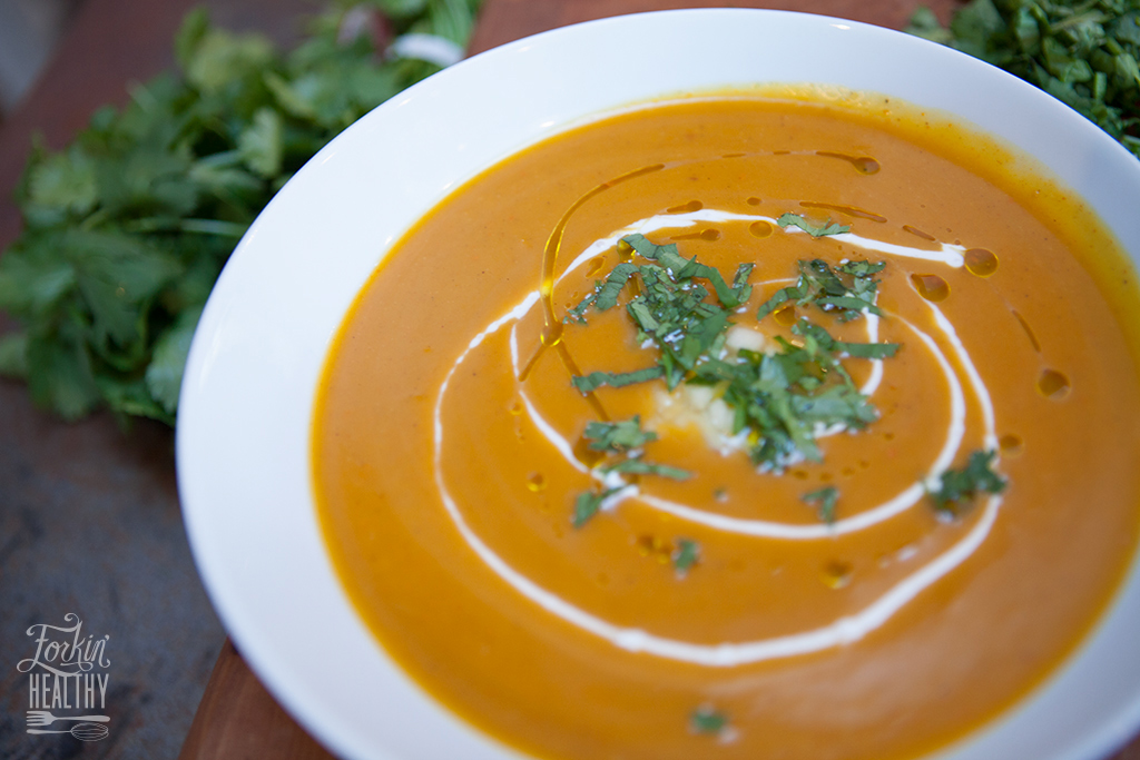 Curried Coconut Squash Soup with Apple and Cilantro | Forkin' Healthy