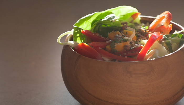 Mango and Red Pepper Salad with Orange Cilantro Dressing