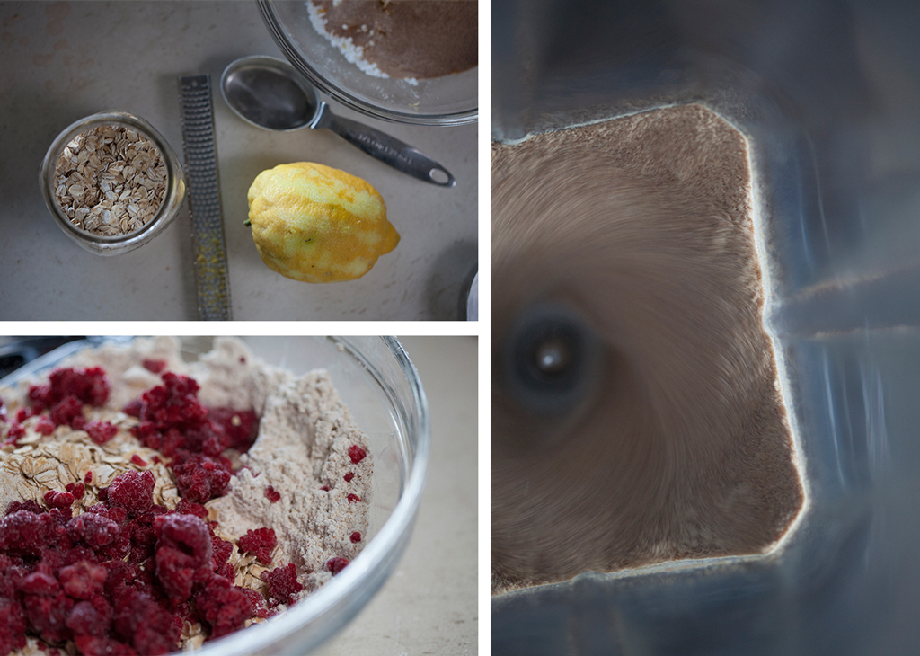 Lemon zest and oats, raspberry and oats in bowl, whizzing in blender collage
