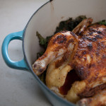 Roasted Chicken with Kale and Onions