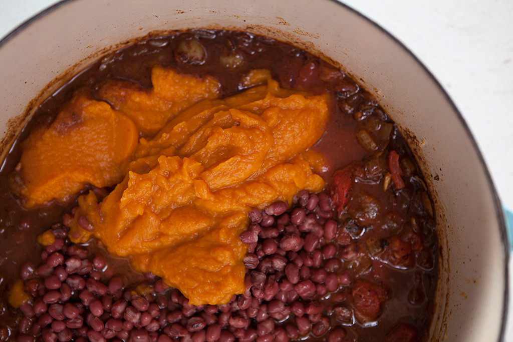 Smoky Pumpkin Chili in pot | Forkin' Healthy