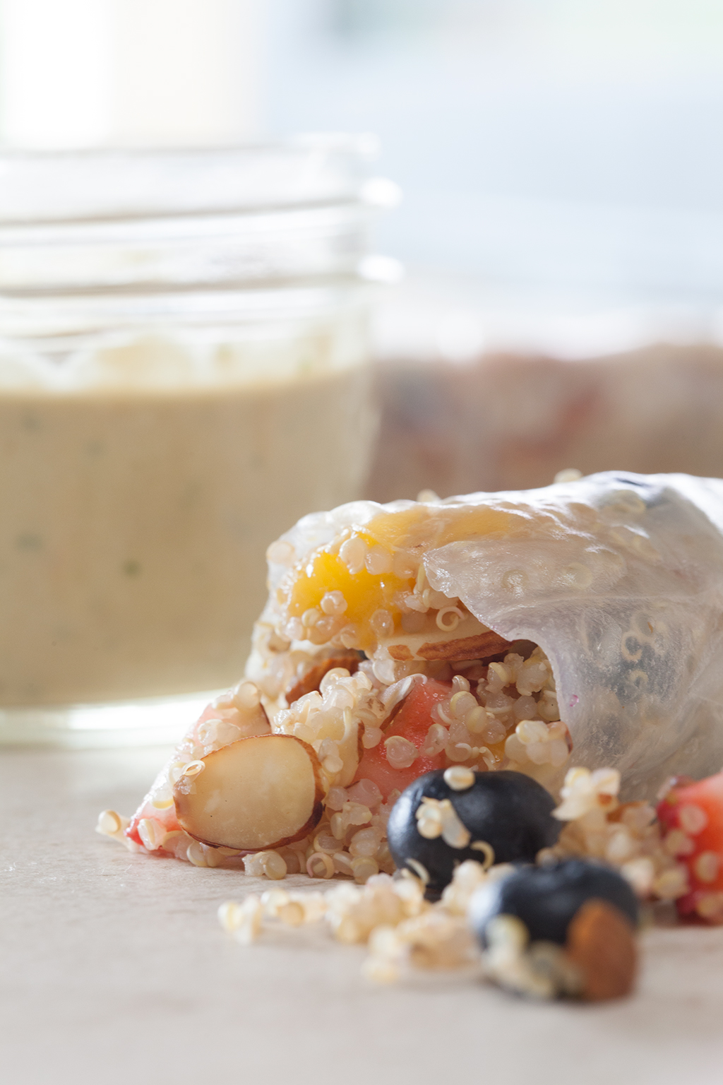 Strawberry Quinoa Spring Rolls with Mango and Mint Sauce